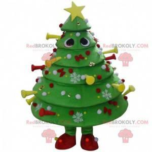 Mascote decorado com árvore de Natal verde, fantasia de árvore