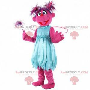 Mascotte roze karakter, kostuum roze schepsel, fee -