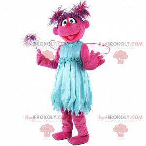 Pink character mascot, pink creature costume, fairy -