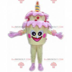 Gul fødselsdagskage maskot, kæmpe kage kostume - Redbrokoly.com