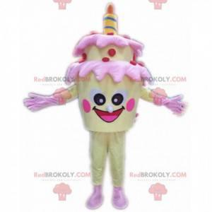 Mascote de bolo de aniversário amarelo, fantasia de bolo