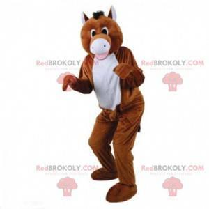 Mascotte cavallo marrone e bianco, costume da cavallo -