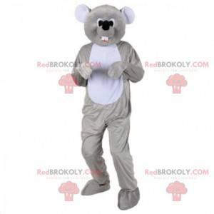 Aanpasbare mascotte grijze muis, knaagdierkostuum -