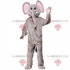 Grijs en roze olifant mascotte, dikhuidige kostuum -