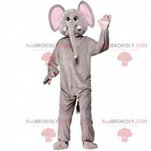 Mascote elefante cinza e rosa, fantasia de paquiderme -