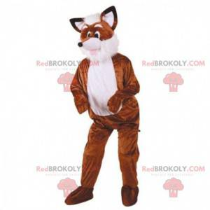 Mascote raposa marrom e branca, fantasia de animal da floresta