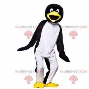 Mascote pinguim preto, branco e amarelo muito divertido -