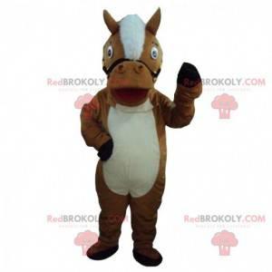 Brun og hvid hest maskot, hest kostume - Redbrokoly.com