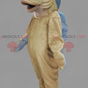 Maskot beige og blå fisk - Redbrokoly.com