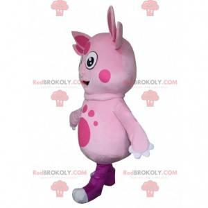 Mascote Luntik, famoso personagem de desenho animado rosa -