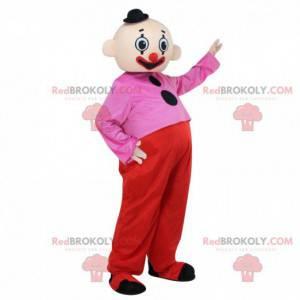 Kleurrijke clownmascotte, circuskostuum, acrobaat -