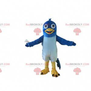 Mascote pombo azul e amarelo, fantasia de pássaro gigante -