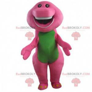 Mascote de dinossauro rosa e verde, fantasia de dragão colorido