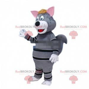 Gray and black cat mascot, colorful cat costume - Redbrokoly.com