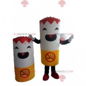 Reusachtige sigarettenmascotte met het acroniem dat roken