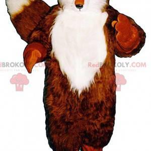 Mascote raposa laranja e branca com olhos verdes -