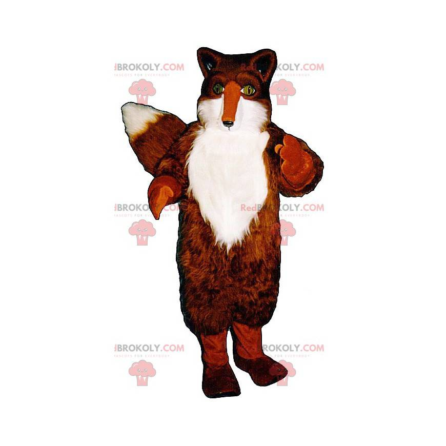 Maskot oranžová a bílá liška se zelenýma očima - Redbrokoly.com