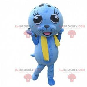 Mascotte blauwe zeeleeuw, kostuum zeeleeuw, blauwe mascotte -