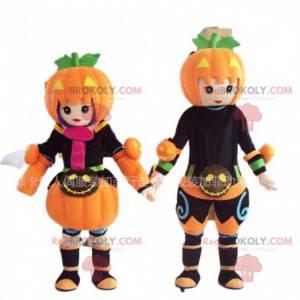 2 mascottes van Halloween-personages, pompoenkostuums -