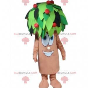 Kæmpe maskot med frugttræ, kostume til kirsebæræble -