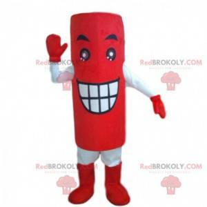 Mascote gigante de bateria vermelha, fantasia de bateria -