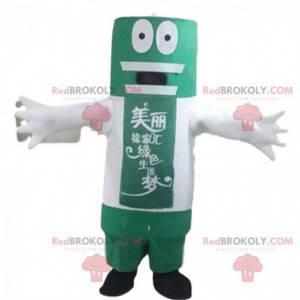 Mascote gigante de bateria verde e branco, fantasia de bateria
