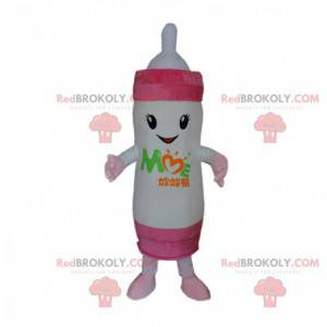 Kæmpe hvid og lyserød babyflaske maskot, baby kostume -