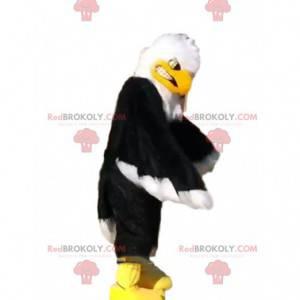 Mascote de águia preta, branca e amarela, fantasia de abutre -