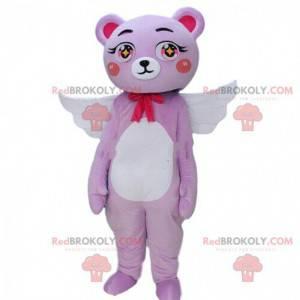 Mascota del oso de peluche con alas y un lazo, disfraz de