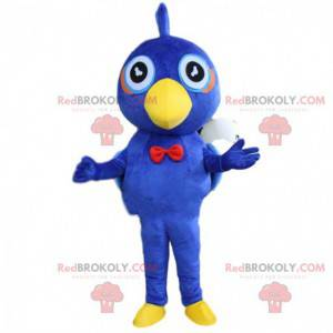 Mascota pájaro azul y amarillo, disfraz de pájaro de peluche -