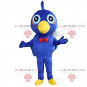 Mascote pássaro azul e amarelo, fantasia de pássaro de pelúcia
