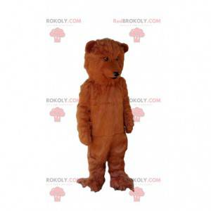 Behåret og blød brun bjørnemaskot, grizzlybjørn-kostume -
