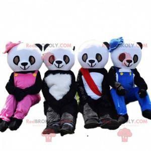 4 mascotes panda, fantasias de ursinho de pelúcia preto e