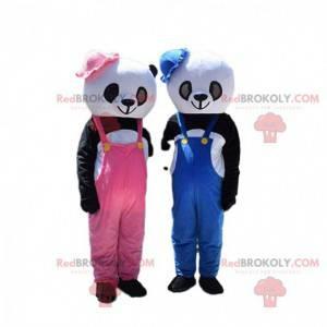 2 mascotes panda, fantasias de urso de pelúcia de menina e
