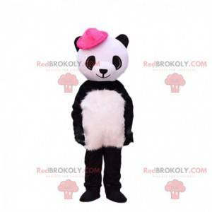 Mascotte del panda in bianco e nero con un cappello rosa -