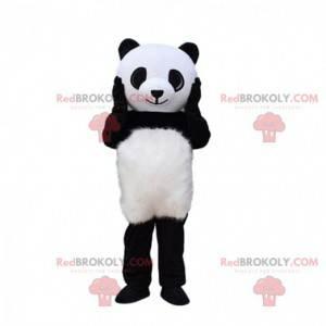 Mascote de panda gigante, fantasia de urso preto e branco -