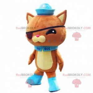 Oranje en gele kat mascotte met een ooglapje en een hoed -