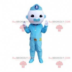Mascotte personaggio blu, poliziotto, costume blu -