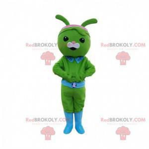 Mascote de coelho verde, fantasia de criatura verde -