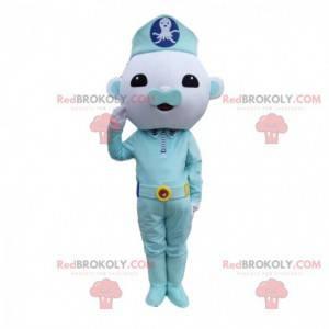 Mascotte blauw karakter, politieagent, blauw kostuum -