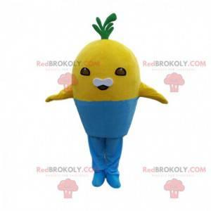 Geel schepsel mascotte in een blauwe pot, plantenkostuum -