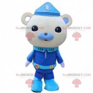 Mascote do ursinho de pelúcia cinza em uniforme da polícia -