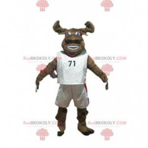 Brown buffalo mascot in sportswear, buffalo costume -
