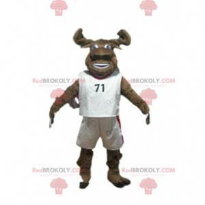 Mascote de búfalo marrom em roupas esportivas, fantasia de