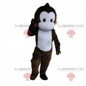 Mascotte scimmia marrone e bianca completamente