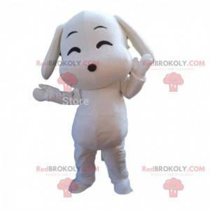 Maskot bílý pes, bílý pejsek kostým kreslený způsobem -