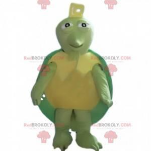 Mascote tartaruga verde e amarela, fantasia animal verde -