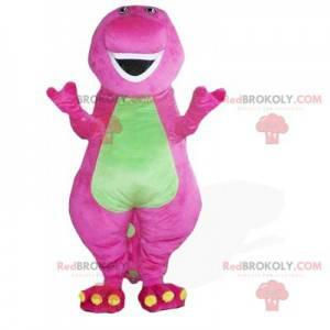 Mascote dragão rosa e verde - Redbrokoly.com