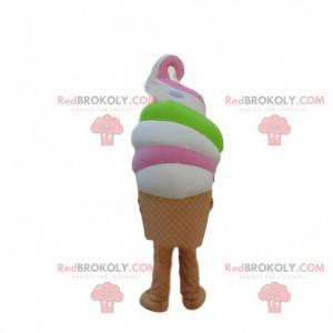 Very colorful Italian ice cream mascot, giant ice cream costume