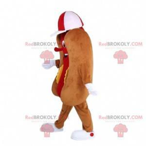 Reusachtige hotdogmascotte, straatvoedselkostuum, sandwich -